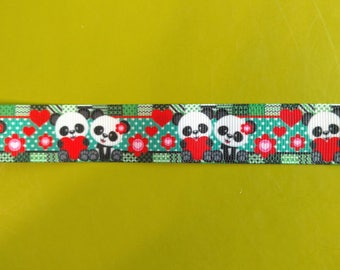 7/8 22 mm Panda Couple Grosgrain Ribbon