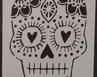 Day of the Dead Dia de los Muertos Male Sugar Skull Custom Stencil FAST FREE SHIPPING