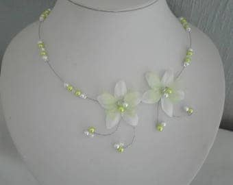 Bridal necklace wedding silk flower white (or ivory) silk bowtie lime green beads holiday evening ceremonies bridesmaid