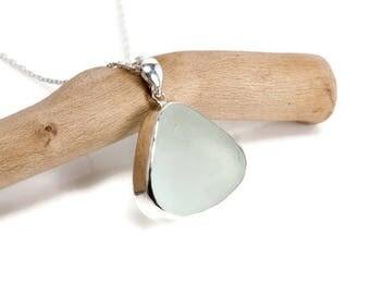 Sea Glass Necklace - Sea Glass Jewellery, 925 Sterling Silver Seaham Seaglass Jewellery | Beach Glass / Ocean Necklace | Sea Glass Jewelry