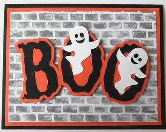 """Handmade Halloween """"BOO"""" Card, A2, Halloween, Ghost, Boo, Happy Halloween"""