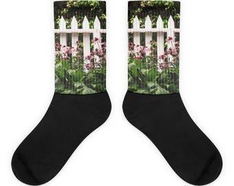 White Picket Fence Flower Garden Sublimated Socks