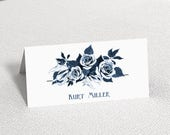 China Blue Floral Wedding Place Cards Personalised Place Name Cards  Navy White Place Cards  Pretty Elegant Place Cards
