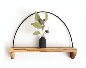 Wall shelf, hanging shelf, reclaimed wood, display, minimal, shelf, dark wood