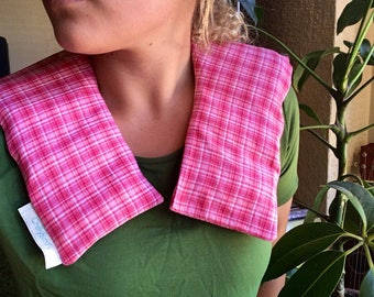 """Lupin Heat Pack - 9 Panel Neck Wrap - Both sides """"Country Pink"""""""