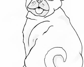 pug coloring sheet dog coloring sheet 8x10 print and color dog digtal download - Pug Pictures To Color