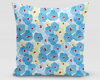 Blue Floral Square Pillow   Home Decor   Studio Carrie   Gift