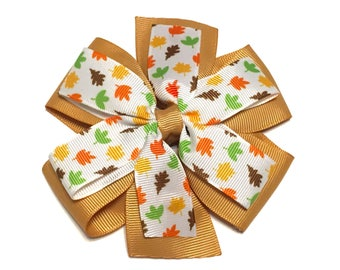 Fall Hair Bow, Fall Bow, Autumn Leaves Bow, Thanksgiving Hair Clip, Fall Headband, Autumn Headband
