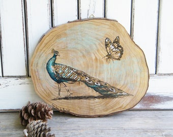 Peacock Print, Bedroom Decor, Bird Print, Butterfly Print, Rustic Wood Sign, Country Wall decor, Wall sign, Wood Slice Art, Gift For Her