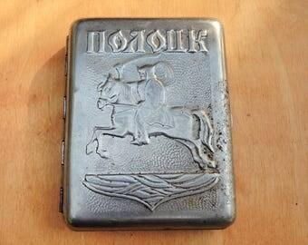 Vintage cigarette case Retro soviet metal box