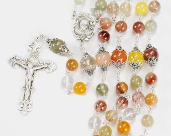 Catholic Women's Rosary - Handmade Gift, Multi-Colored Quartz Stones, Madonna Center, Baroque Crucifix, Sterling Silver - Heirloom Rosaries
