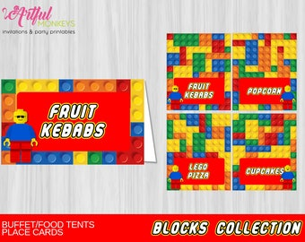 Printable Building Blocks  Food Tents | Place Cards | Personalized