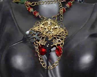 """Steampunk and Victorian """"seven thirty"""" necklace"""