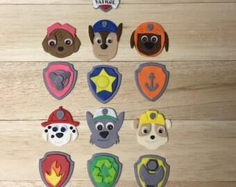 Paw Patrol fondant cupcake toppers, paw patrol party, paw patrol cupcakes, paw patrol cakes