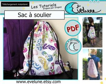 Sac à soulier PDF / Patron Français / sac à dos / sac éducation physique / sac de plage / sac de piscine / sac fourre-tout / Evelune