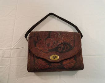 Hand Tooled Leather Purse With Initails On The Front