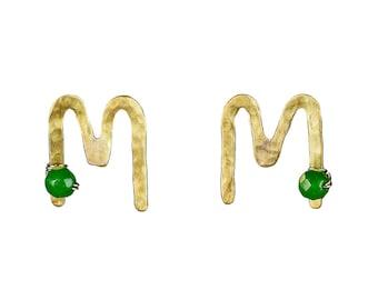 Gold initial earring studs, sterling silver stud, alphabet letter jewel, handmade monogram, green jade stud, personalized gift, custom jewel