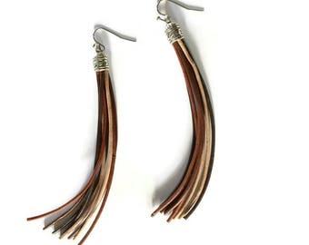 Brown Tassel Earrings - BOHO Earrings - Leather Earrings - Statement Earrings - Leather Tassel Earrings - BOHO Jewelry