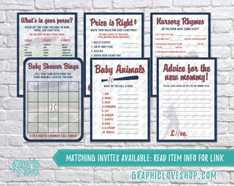 Printable Set of 6 Vintage Baseball Baby Boy Shower Games & Advice for Mom Card | PDF, Instant Download, Ready to Print, Files NOT Editable