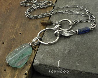 Necklace raw sterling silver and roman glass - oxidized silver - ancient glass