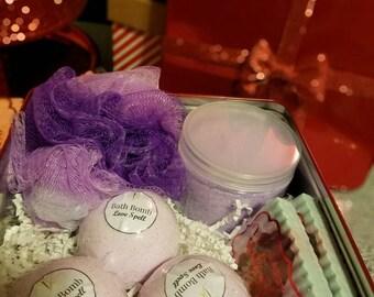 Valentine's Day Gift Set- 3 Bath Bombs, 2 Handmade Soaps, 12oz Bath Salts, Loofah