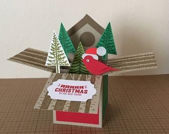 Handmade christmas card in a box,3D christmas card.