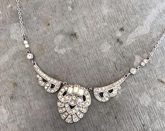 Vintage rhinestone necklace, vintage crystal necklace, vintage bridal, paste necklace, Art Deco necklace, art nouveau, bridal jewellery,