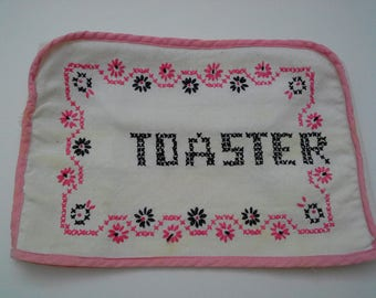 Vintage Toaster Cozy, Toaster Cover, Vintage Kitchen, Vintage Linens, Pink Black Kitchen, 1950s Kitchen, Kitschy Kitchen, Cross Stitch Cozy