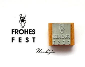 Frohes Fest, stamp, comic reindeer, rubber stamp 30 x 30 mm