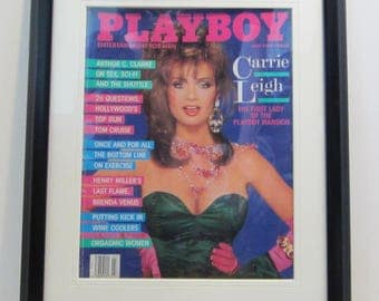 Vintage Playboy Magazine Cover Matted Framed : July 1986 - Carrie Leigh