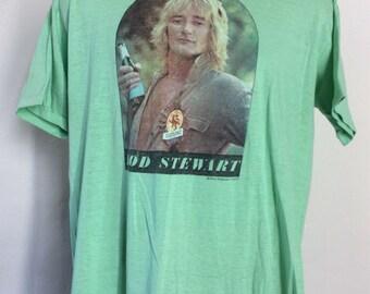 Vtg 1977 Rod Stewart T-Shirt Green L/XL 70s Classic Rock