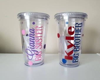 Personalized Big Brother Tumbler, Pregnancy Reveal, Big Brother Gift, New Big Brother, Baby Shower, Sibling Gift, Personalized Tumbler