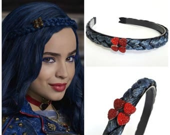 Disney Descendants 2 headpiece ,Evie Blue braid Headpiece , Evie costume, Descendants Headpiece ,Evie blue braid Headband With Red Heart