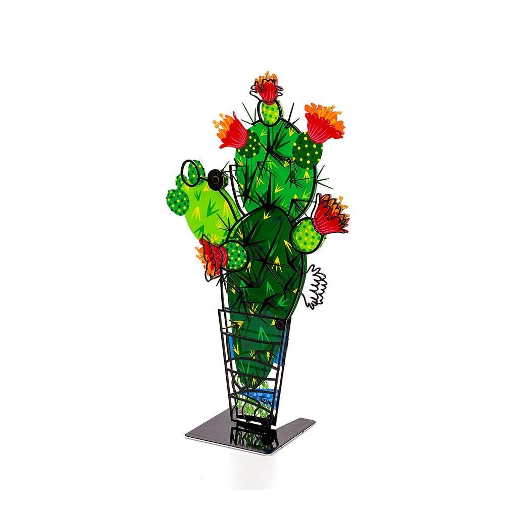 Metal Cactus SculptureCactus Decor3D Effect Green Yellow