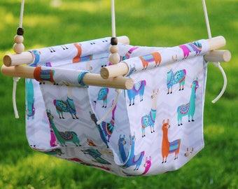 llama swing, baby swing, Toddler swing, indoor swing, outdoor swing, baby shower gift, fabric swing, baby gift, outdoor furniture, gift