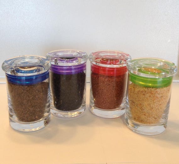 4 Organic Glass Spice Jars filled with choice of Salts or Peppers