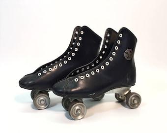 Vintage Official Roller Derby Skates Metal Wheels Black Vinyl and White Grommet