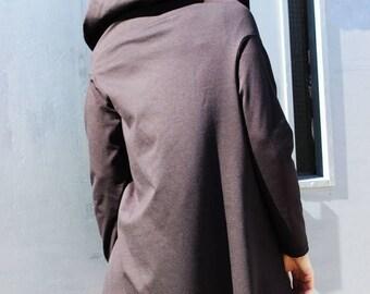 SALE Hoodie, Grey Asymmetric Coat, Hooded Top, Womens Blazer, Tunic Tops, Fraktura B0018