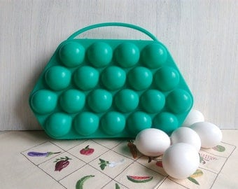 Vintage egg holder Green egg basket Soviet plastic egg container made in USSR Emerald Green