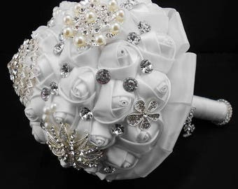 Luxury White Wedding Bouquet Bridal Bouquet Brooch Bouquet Bridesmaid Bouquet Keepsake Bouquet White Bouquet Garters Jewelry Bouquet