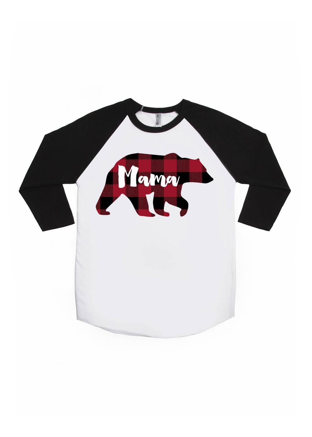 Mama Bear Buffalo Plaid Shirt Unisex Adult Raglans