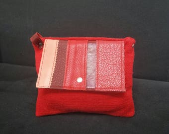 POUCH blend of leather and fabric