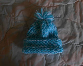 Hand knit Blue & White Baby Hat