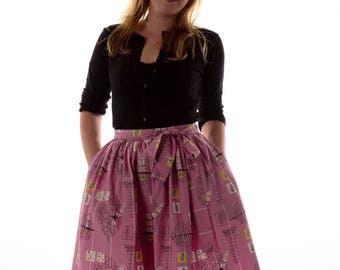 1950's Style Summer Skirt/ Full skirt/Pink Summer Skirt/