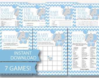 ELEPHANT Baby Shower Game Pack Instant Download - 7 Baby Shower Games Cute Fun Modern BLUE Chevron DYI  printable games  baby Boy B113