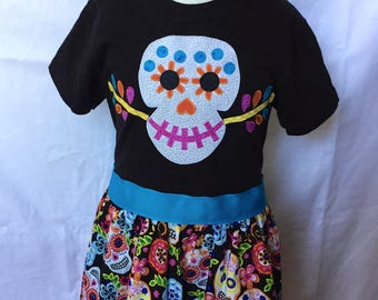 Coco-inspired Dia De Los Muertos Dress, sizes 2 and 3 (ages 2-3, 3-4)
