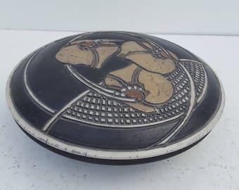 1984 Handmade  Studio Pottery Lidded Bowl  By Aanl .