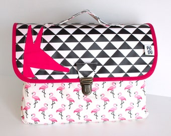 Native light B & w patterns flamingos pink satchel