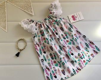 Girls Dress Flutter Sleeve Size 00, Rainbow, Feathers , boho, handmade girls dress, toddler dress, summer dress, party dress, ready to ship