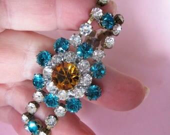 Sensational Vintage Czech Diamente Bracelet - Signed